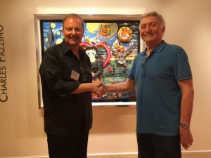 Jerry Bengis and Charles Fazzino at Pop & COmic Art exhibit at Coral Springs Art Museum, March 2015